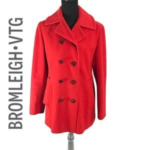 BROMLEIGH  Red Wool Long Peacoat VTG
